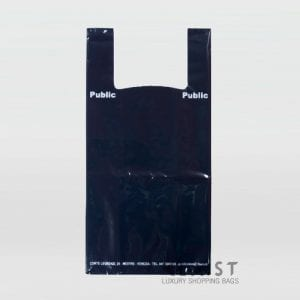 sacchetto in plastica con maniglia a bretella