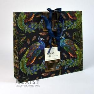 shopper carta eleganti con nastro di chiusura e maniglie in raso, stampa offset