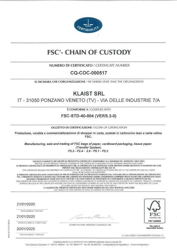 klaist srl azienda certificata fsc